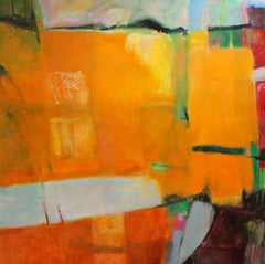 Kerala 5, The Beach, large abstract painting, orange, hints of green and red