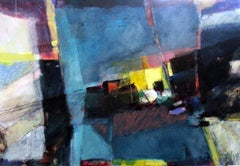 Untitled Paxos #4 - large blue abstract expressionist landscape, yellow, pink