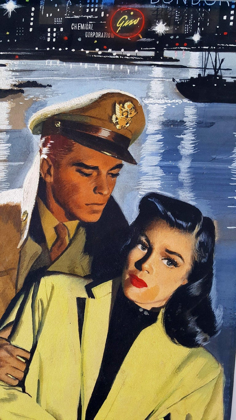 Love at War,  Lovers in a troubled moment . Handsome men and beautiful women. - Painting by Jon Whitcomb