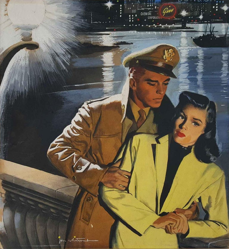 Jon Whitcomb Figurative Painting - Love at War,  Lovers in a troubled moment . Handsome men and beautiful women.