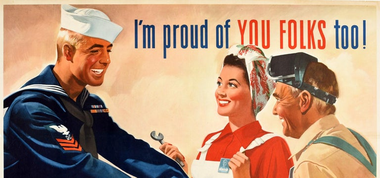 Original Vintage Poster I'm Proud Of You Folks Too WWII US Navy Home Front Work - Orange Print by Jon Whitcomb