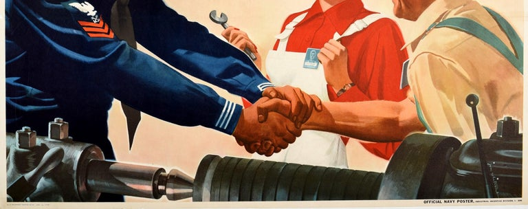 Original vintage World War Two propaganda poster - I'm Proud of You Folks Too! - encouraging people at home to join in the war effort featuring a smiling young sailor in US Navy uniform shaking hands with an older man working as an industrial welder