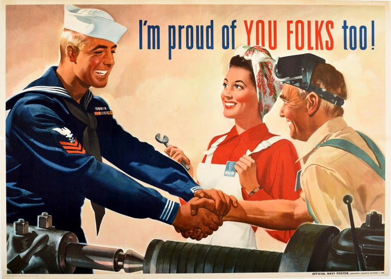 Jon Whitcomb Print - Original Vintage Poster I'm Proud Of You Folks Too WWII US Navy Home Front Work
