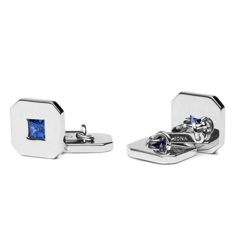 Jona 18 Karat White Gold Blue Sapphire Cufflinks In New Condition For Sale In Torino, IT