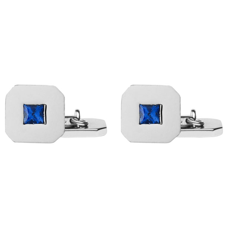 Jona 18 Karat White Gold Blue Sapphire Cufflinks For Sale