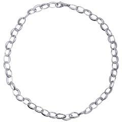 Alex Jona 18 Karat White Gold Link Chain Necklace