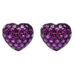 Jona 18 Karat White Gold Ruby Heart Clip-On Earrings