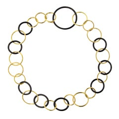 Jona 18 Karat Yellow Gold and High-Tech Black Ceramic Circle Chain Link Necklace