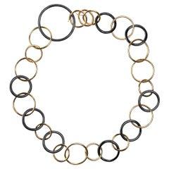Jona 18 Karat Yellow Gold and High-Tech Black Ceramic Circle Link Necklace