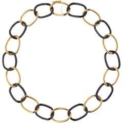 Jona 18 Karat Yellow gold and High-Tech Black Ceramic Curb Link Necklace