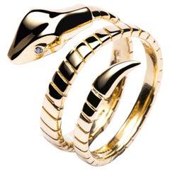 Jona 18 Karat Yellow Gold Coil Snake Ring