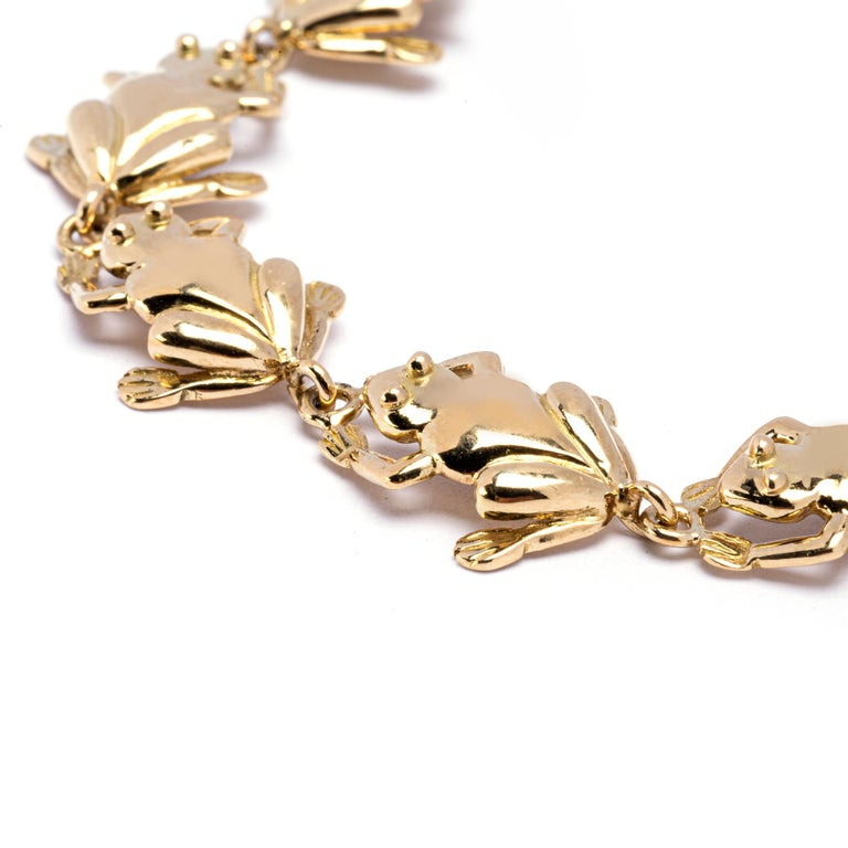 Jona 18 Karat Yellow Gold Frog Link Bracelet In New Condition For Sale In Torino, IT