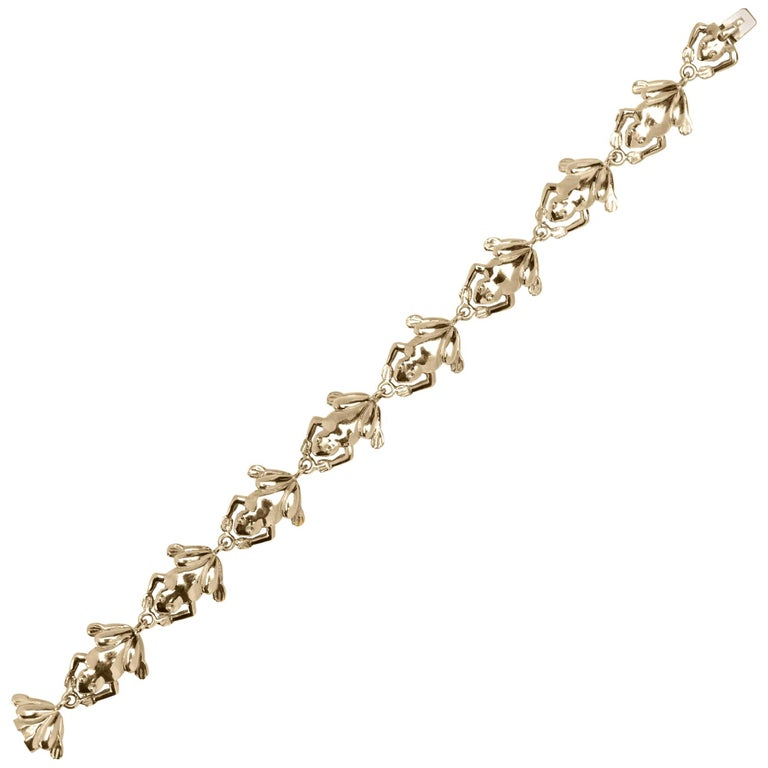Jona 18 Karat Yellow Gold Frog Link Bracelet For Sale