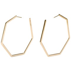 Jona 18 Karat Yellow Gold Geometric Hexagonal Hoop Earrings