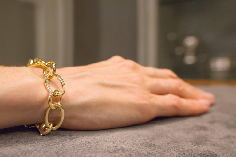 Jona 18 Karat Yellow Gold Link Chain Bracelet In New Condition For Sale In Torino, IT