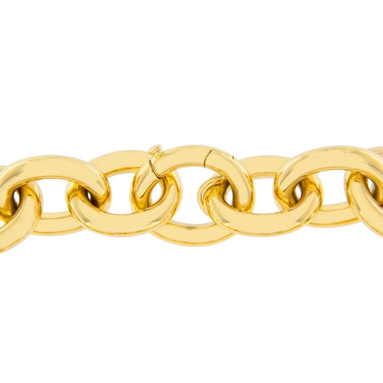 Women's or Men's Jona 18 Karat Yellow Gold Link Chain Bracelet For Sale