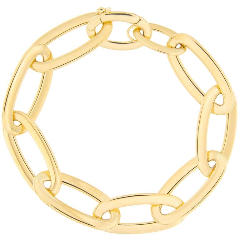 Jona 18 Karat Yellow Gold Link Chain Bracelet For Sale