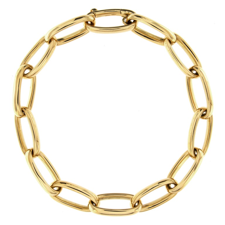 Women's or Men's Jona 18 Karat Yellow Gold Link Chain Necklace For Sale