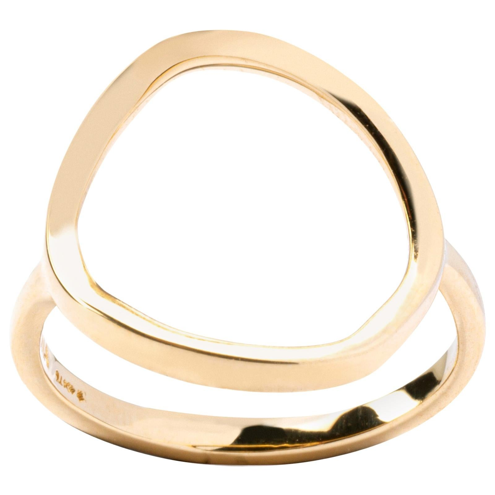Alex Jona 18 Karat Yellow Gold Open Circle Hoop Ring