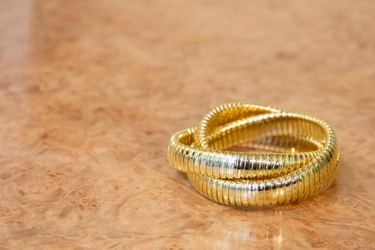 Alex Jona 18 Karat Yellow Gold Tubogas Rolling Bracelet For Sale 6