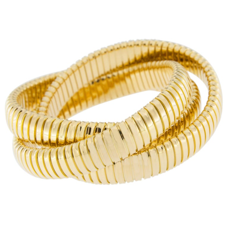 Alex Jona 18 Karat Yellow Gold Tubogas Rolling Bracelet In New Condition For Sale In Torino, IT