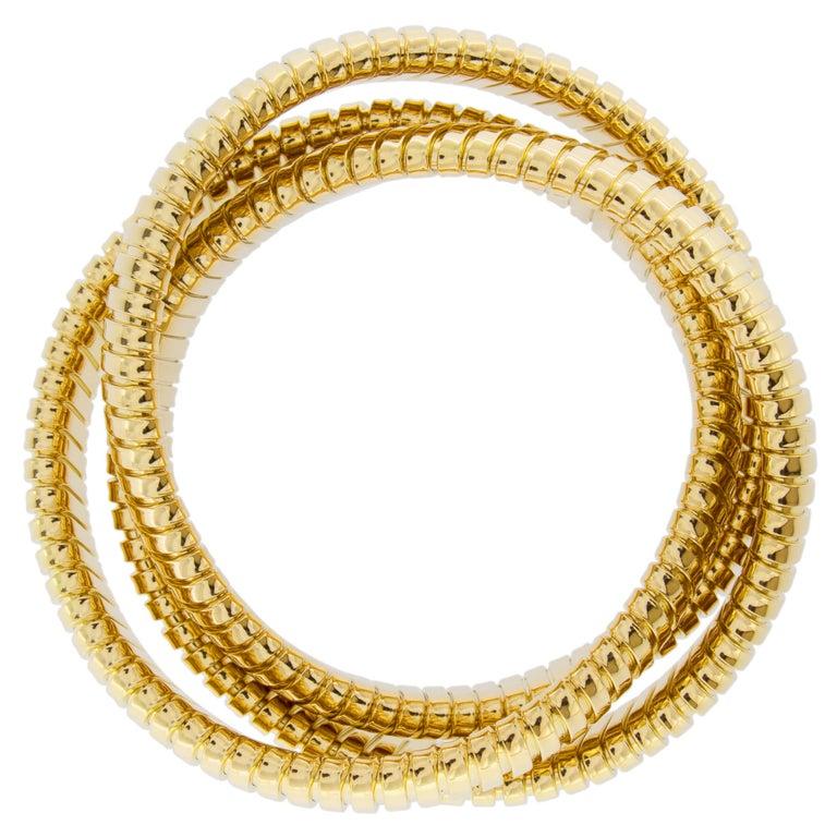 Alex Jona 18 Karat Yellow Gold Tubogas Rolling Bracelet For Sale 3