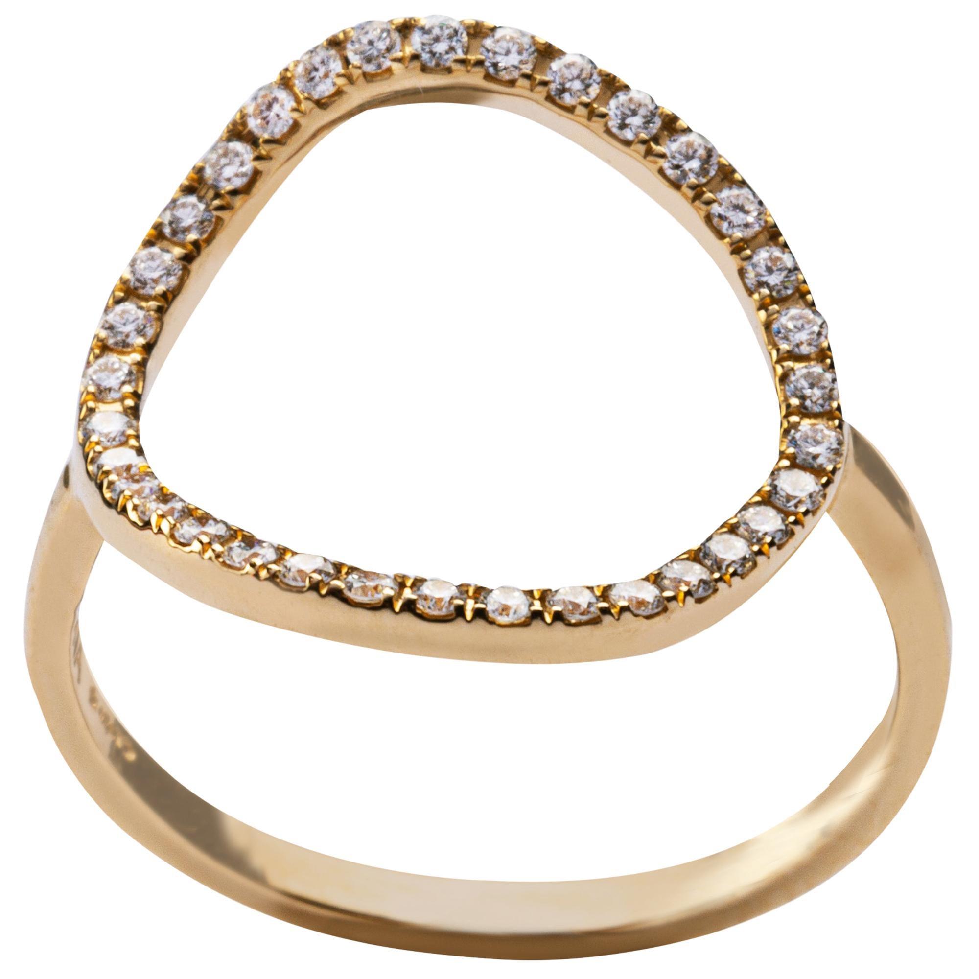 Alex Jona 18 Karat Yellow Gold White Diamond Open Circle Hoop Ring