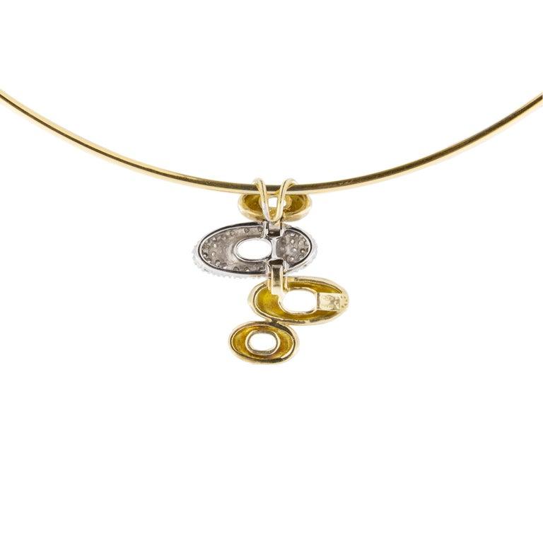 Jona 18 Karat Yellow Gold White Diamond Choker Pendant Necklace 1