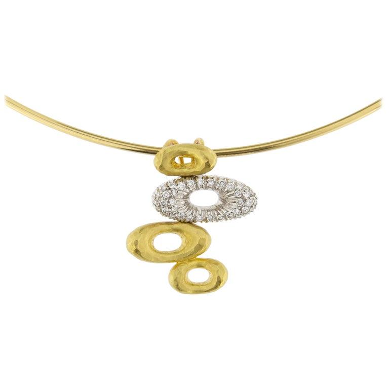Jona 18 Karat Yellow Gold White Diamond Choker Pendant Necklace