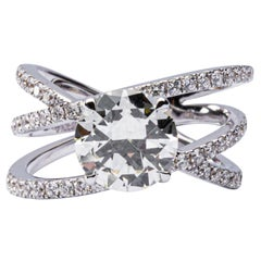 Jona 2.19 Carat Round Cut Diamond 18 Karat White Gold Crossover Engagement Ring