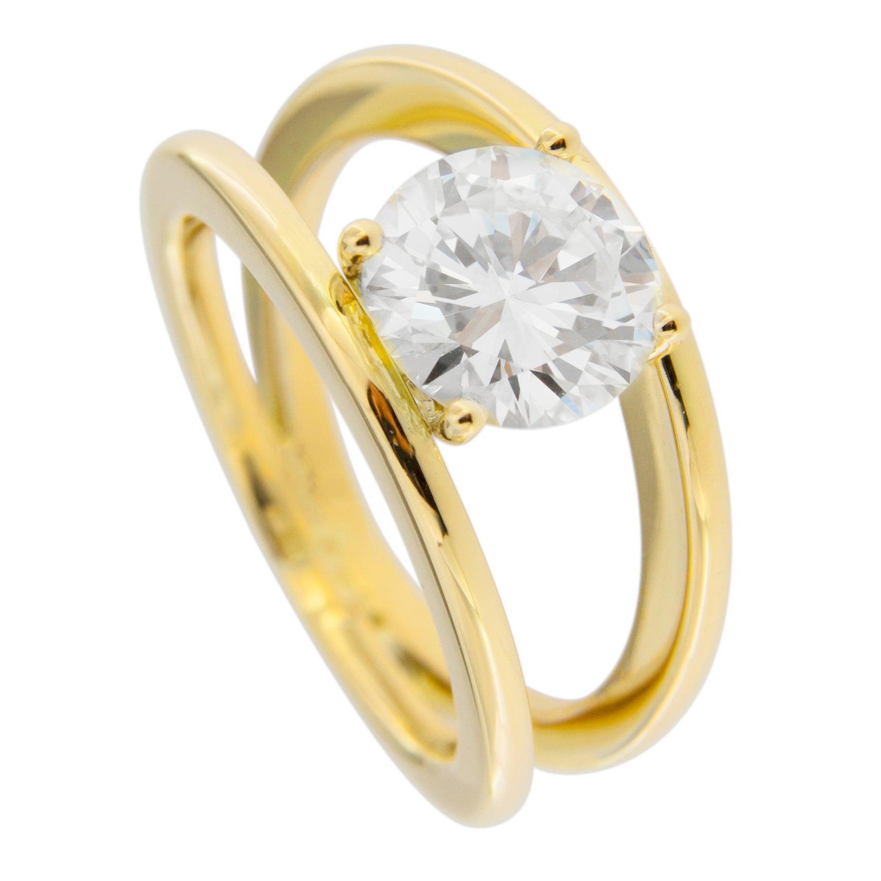 Alex Jona 2.52 Carat White Diamond Certified 18 Karat Yellow Gold Solitaire Ring