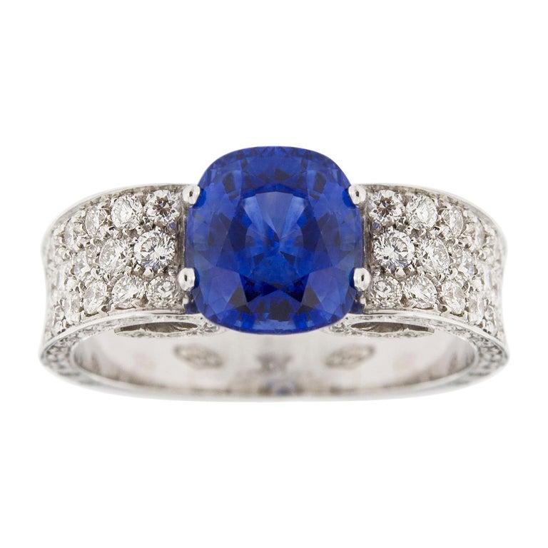 Jona 2.85 Carat Sapphire White Diamond 18 Karat White Gold Ring For Sale