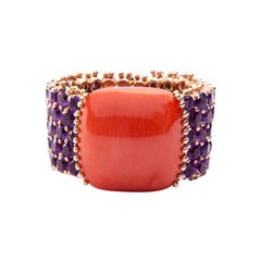 Jona Amethyst and Mediterranean Coral 18 Karat Rose Gold Band Ring