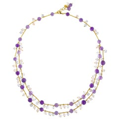 Jona Amethyst Chalcedony Rose Quartz 18 Karat Yellow Gold Necklace