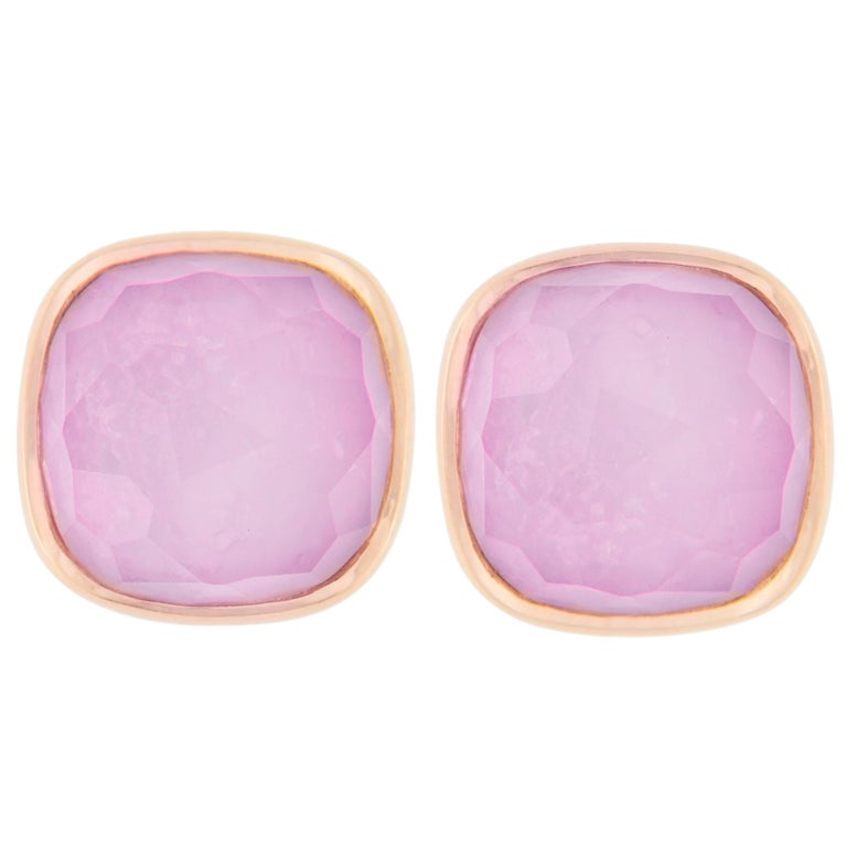 Jona Amethyst Mother of Pearl 18 Karat Rose Gold Stud Earrings For Sale