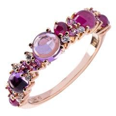 Jona Amethyst Ruby White Diamond Pink Sapphire 18 Karat Rose Gold Band Ring