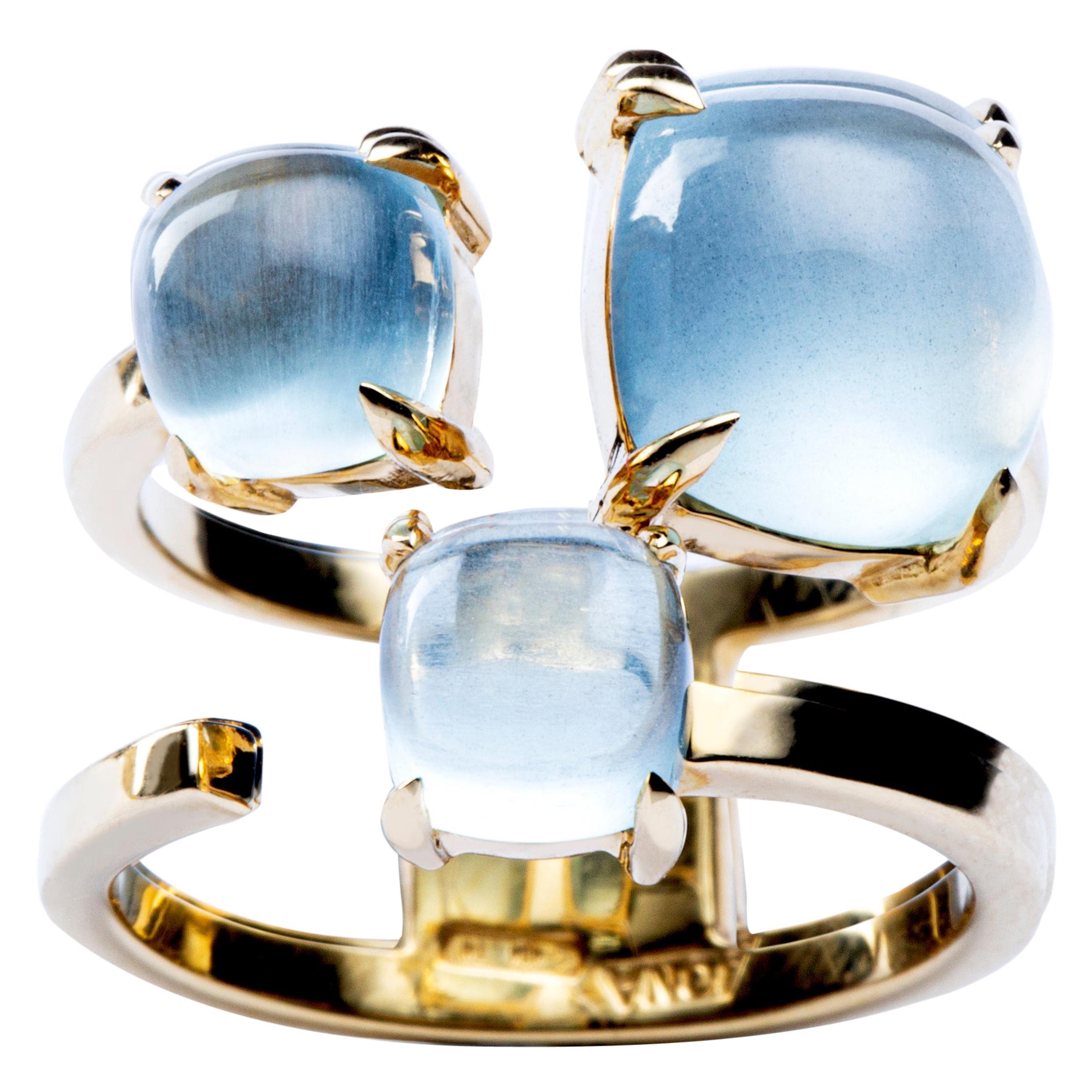 Alex Jona Aquamarine 18 Karat Yellow Gold Band Ring