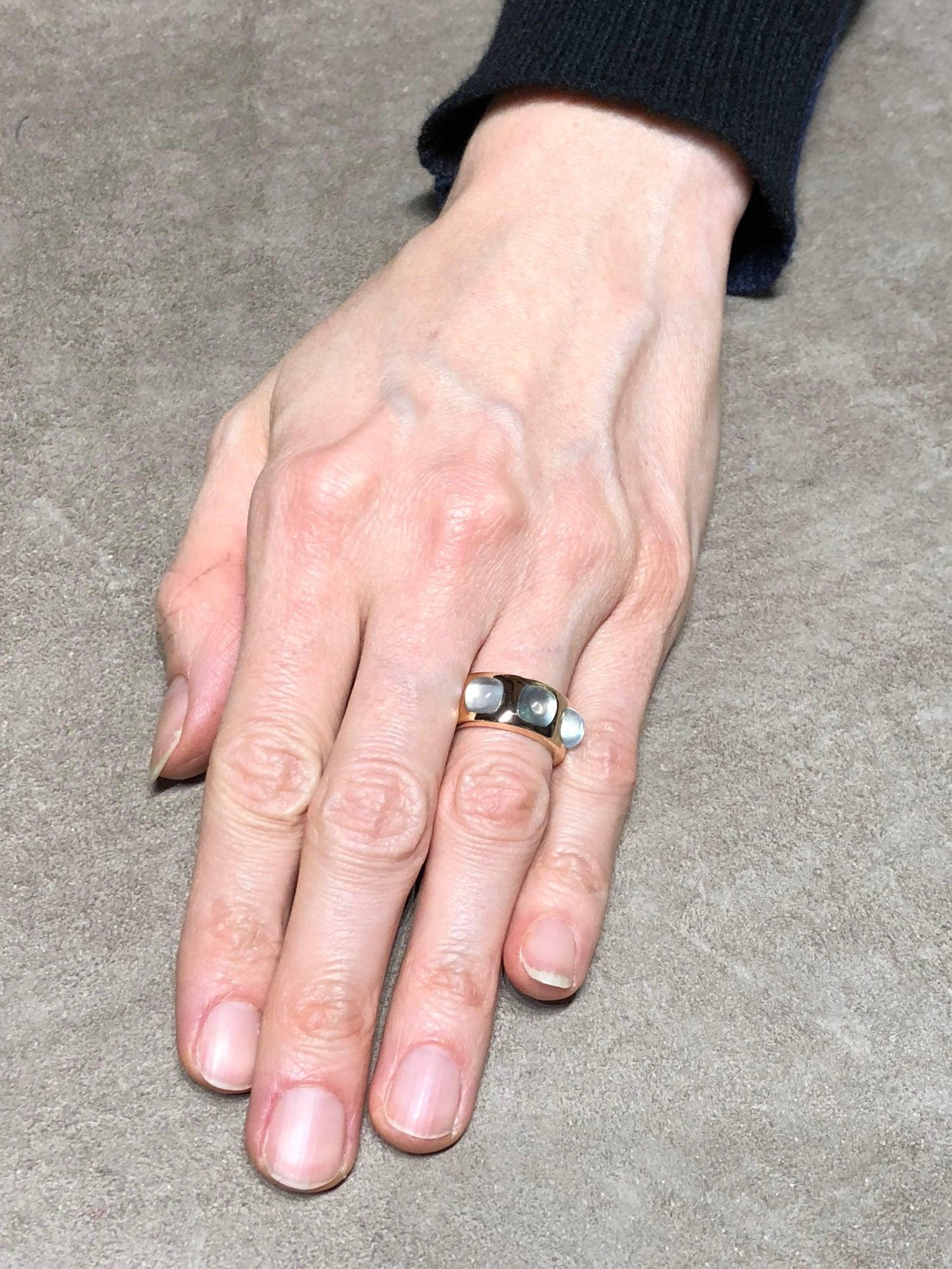 Jona Aquamarine 18 Karat Rose Gold Band Ring For Sale at 1stdibs