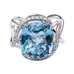 Jona Aquamarine White Diamond 18 Karat White Gold Ring