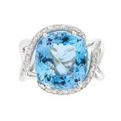 Jona Aquamarine White Diamond 18 Karat White Gold Ring