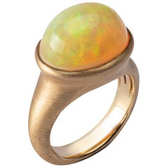 Jona Arlequin Opal Brushed 18 Karat Yellow Gold Ring