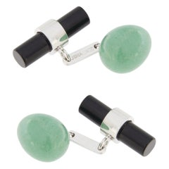 Jona Aventurine Egg and Onyx Cylinder 18 Karat White Gold Cufflinks