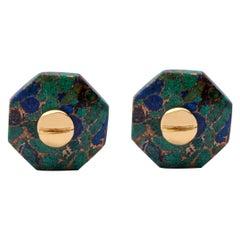 Jona Azurite Sterling Silver Gold-Plated Octagonal Cufflinks