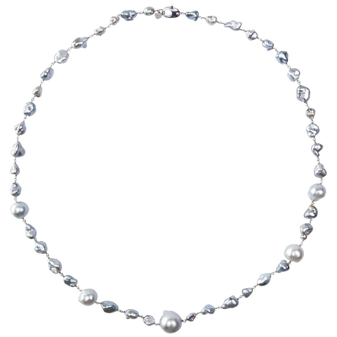 Jona Baroque South Sea Pearl 18 Karat White Gold Necklace