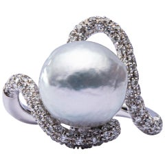 Jona Baroque South Sea Pearl White Diamond 18 Karat White Gold Ring