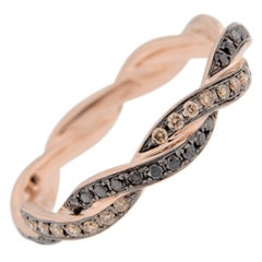 Jona Black and Brown Diamond 18 Karat Rose Gold Eternity Band Ring