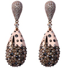 Jona Black Brown and White Diamond 18 Karat Rose Gold Drop Earrings
