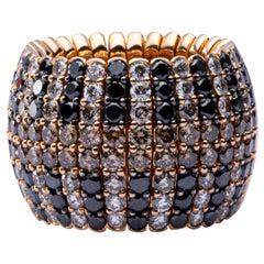 Jona Black Brown and White Diamond 18 Karat Rose Gold Flexible Band Ring