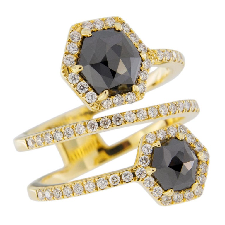 Jona Black Diamond and White Diamond 18 Karat Yellow Gold Crossover Ring Band For Sale 1
