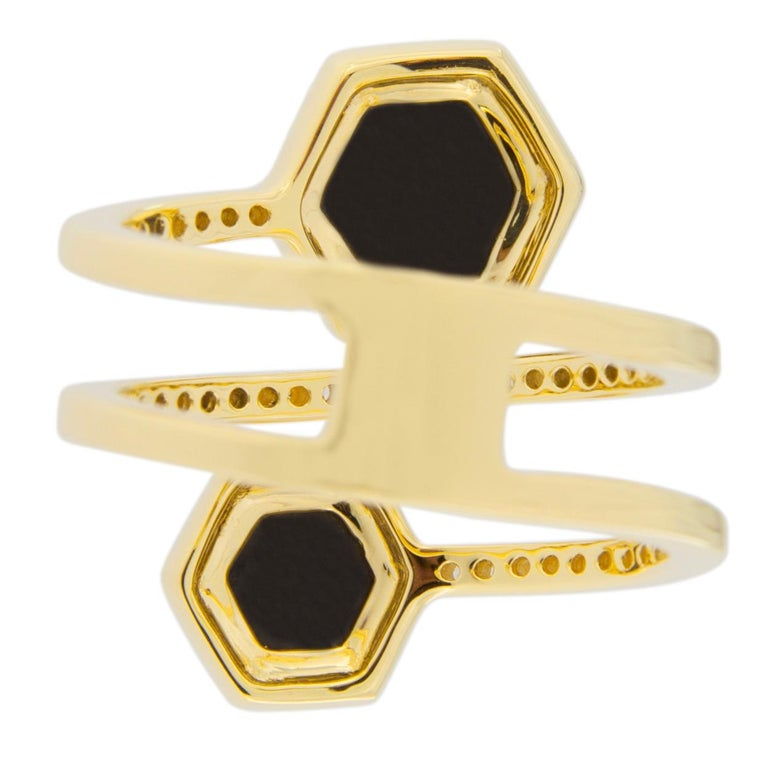 Jona Black Diamond and White Diamond 18 Karat Yellow Gold Crossover Ring Band For Sale 5
